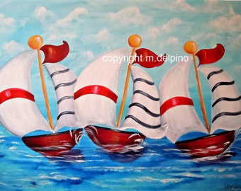 Nautical Nursery Sailboat painting, red white blue nursery art, sailing ships nursery, nautical nursery, baby boy nursery decoration
