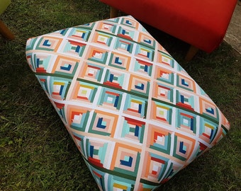 Footstool with contemporary geometric fabric