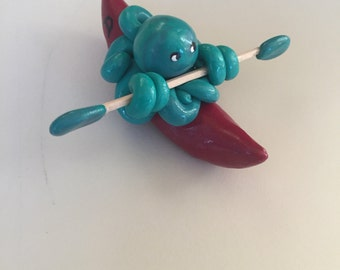 Kayaking  Octopus Mini Marble Friend in Teal swirl with personalized Red Kayak