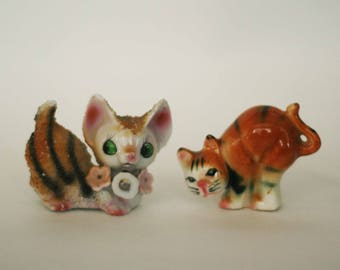 vintage ceramic cats set of two made in japan