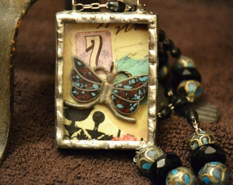 LUCKY 7 & THE BUTTERFLY Necklace Steampunk Soldered Glass ooak Unique Vintage Silver Turquoise Double Shadow Box