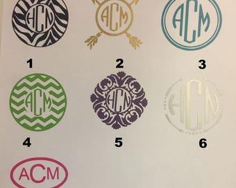 Monogram Decal, Monogram Sticker, Monogram Car Decal, Vinyl Monogram, Monogram Vinyl, Personalized Monogram Decal