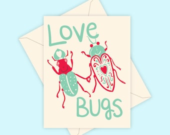 Love Bugs - Screen Printed Greeting Card Valentine's Day