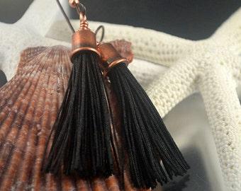 Black Tassel Earrings - Prima Donna Beads