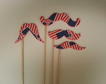 American Flag Mustaches on a stick 10 pack, Handlebar Mustache, Mustache, Mustache Costume Accessory, Mustache Party, Mustache Party Favor