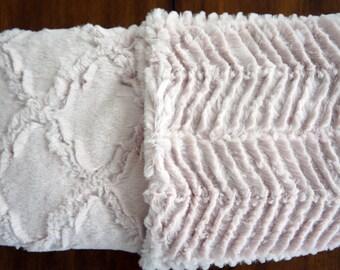 Minky Baby Blanket -Rose Water Lattice Super Cuddle Minky - Rose Water Ziggy Minky -Double-Sided Minky Blanket