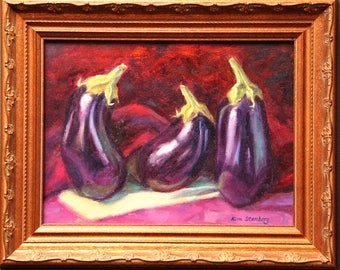 Eggplant Vegetable Painting Original Oil Food Still Life Impressionist French Country Framed Wall Art Unique Gift By Kim Stenberg