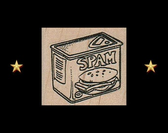 SPAM Rubber Stamp, Food Rubber Stamp, Asian Food, Hawaii Rubber Stamp, Spam Musubi, Spam Can, Spam, Spamalot, Wood Mounted Stamp, Stempel