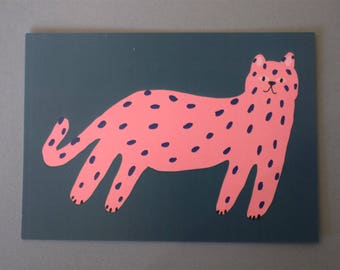 Pink cat postcard