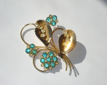 Vintage Rhinestone Brooch Gold Tone Blue Flower Pin Retro Costume Jewelry 1960s