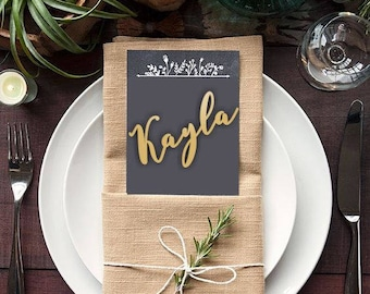 Wood place names. Wedding  favors.Gold place names .