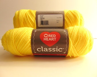Yellow - Red Heart Classic yarn worsted weight 100% acrylic