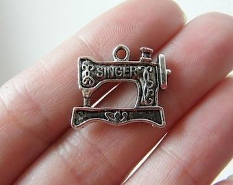 8 Sewing machine charms antique silver tone P513