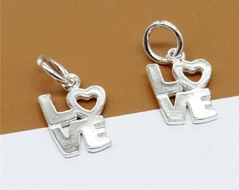 5 Sterling Silver Love Charms, Love Heart Charms, 925 Silver Love Letter Charms, Lover Charms - JH972