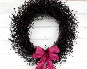 BLACK  & BURGUNDY BERRY Wreath-Vintage Wedding Wreath-Elegent Home Decor-Christmas Gift-Custom Scneted Wreaths-Choose Scent and Ribbon Color