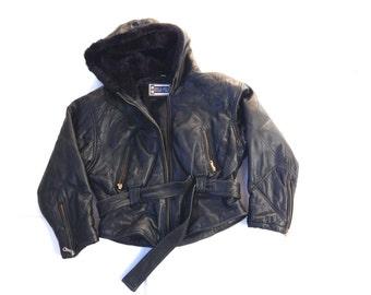 Vintage quilted leather hoodie. Black leather jacket