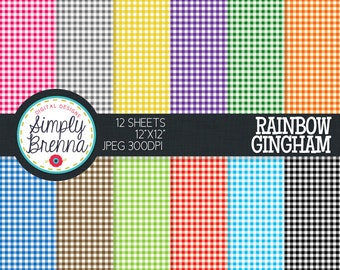 Gingham Digital Paper Pack - Gingham - Rainbow Colorful Set - Personal & Commercial Use INSTANT DOWNLOAD