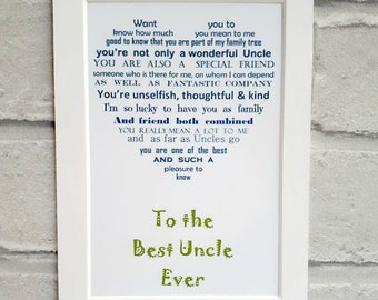 Uncle Gift, Gift for Uncle, Unframed Birthday Gift, Personalised gift for uncle, Uncle birthday gift, birthday gift for uncle