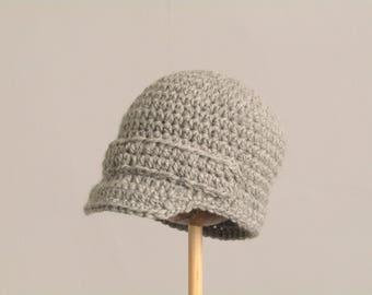 Newsboy cap 3 - 6 months, baby hat - soft grey - handmade with wool and alpaca mix yarn