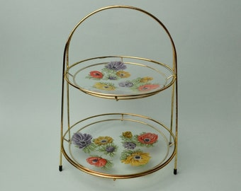 Vtg 2 Tier Cake Stand Cupcake Display Afternoon Tea Tray Floral Poppy Glass Gold