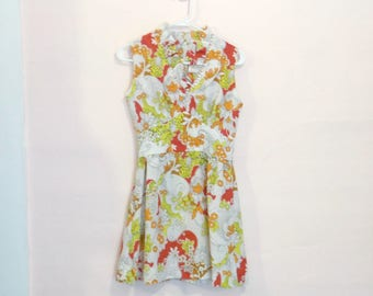 Vintage 70's Retro Groovy Floral Mini Dress XS/S