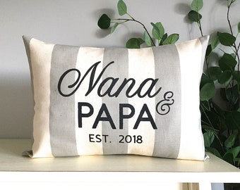 Nana and Papa pillow,  Grandparents gift, Birth announcement, Grandma & Grandpa, Custom Monogrammed Pillow, Rustic Home Decor