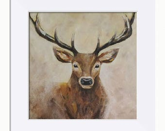 Stag Art Print, Emerging Stag Picture - Limited Edition Fine Art Print, Original Artwork by Tracey Zorek