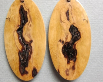 Gorgeous Spalted Maple Earrings Exotic Wood Dangle handcrafted ecofriendly r hypoallergenic ear wires