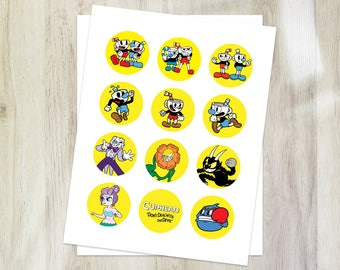 Cuphead cupcake toppers, cuphead party circles, Birthday printables
