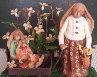 "hand sculpted polymer clay ""Walk in the park"" mother rabbit/boy/girl bunnies"
