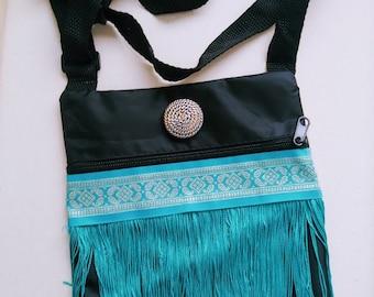 Boho Bag, Cross Body, Shoulder, Purse Everyday, Special Occasion Zipper Ethnic, fringe, turquoise