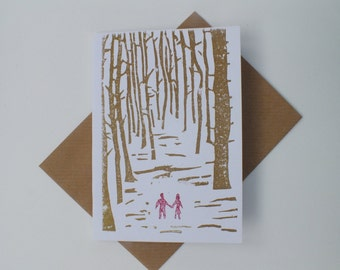 Anniversary card linocut - wedding card - couple walking through the forest - Copper and red