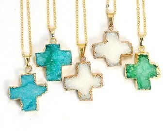 Cross Druzy Necklace - White Blue Green - Natural Agate Titanium Druzy Geode Quartz Crystal Rough Cut Rock Necklace - Gift Idea