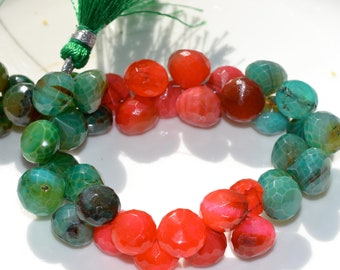 Orange Red or Green Dyed Chalcedony Briolettes   4