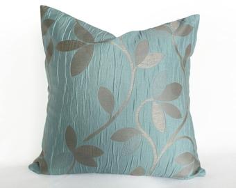 Metallic Pillows, Textured Pillow Covers, Leaves Pillow, Blue Silver Pillows, Turquoise Pillow Cover, Girlfriend Gift, 12x18, 18x18