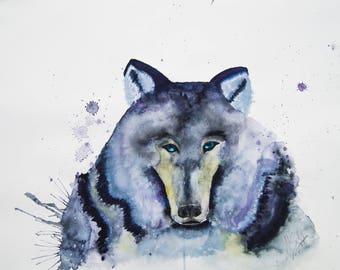 PRINT - Wolf, Aquarell, Watercolor,