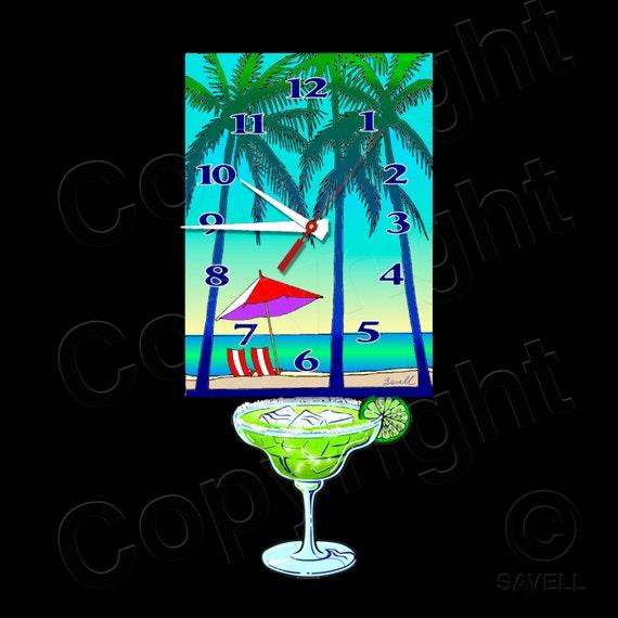 Beach Clock with Swinging Margarita Pendulum • Seaside Clock
