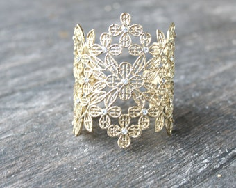 Lace Bridal Cuff Bracelet, SELIA Gold Lace Floral Bridal Cuff Bracelet,Gold Filigree Cuff Bracelet,Lace Cuff,Metal Cuff,Swarovski Crystal Cu