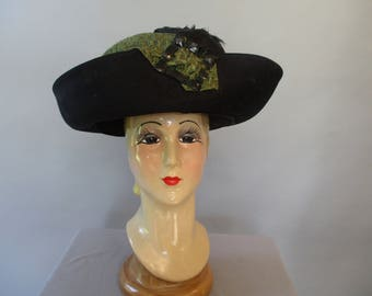 Edwardian Hat  Large Black Hat Wide Brim Jet Beads Green Ribbon Feathers, 1912 Titanic Era Antique Derby  Ascot Hat