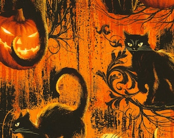 Halloween Fabric, Wicked, Graveyard Fabric, Black Cats Fabric, Jack-o-latern Fabric, by Timeless Treasures, C5846