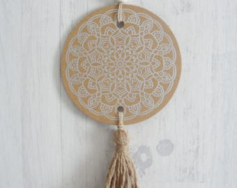 Bohemian decoration, Christmas decoration silver mandala