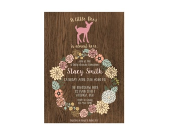 Little Deer Woodland Girl Brunch Baby Shower Invitation