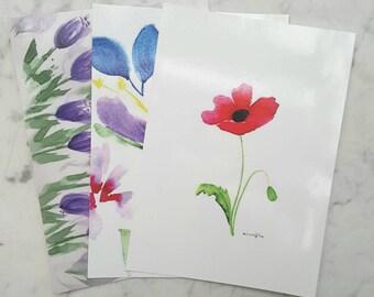 Floral Postcards. Botanical Art. Original Composition. Friendship Cards. Birthday Gift