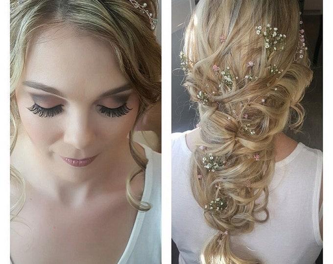 Hair vine, pastels, Swarovski elements, crystal vine, rose gold, bridal crown, boho, wedding accessories, summer bride, Boho chic, pink blue