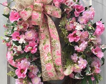 Mother's Day Wreath, Spring Wreath, Summer Wreath, Pink Wreath, front door wreath,  country wreath