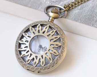 1 PC Antique Bronze Large Filigree Pocket Watch 47mm A272