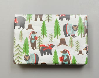 Forest Christmas Bears Wrapping Paper, 2 Feet x 10 Feet