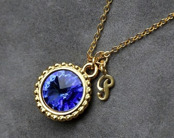 September Birthstone Necklace, Personalized Initial Jewelry, Gold New Mom Mother Jewelry, Sapphire Initial Necklace