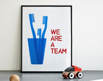 We are a Team Print, Mother's Day Print, Blue Artwork, Family Wall Art, Nursery Print, Children Poster, Blue Print, A3, 11.7 x 15.7 in.