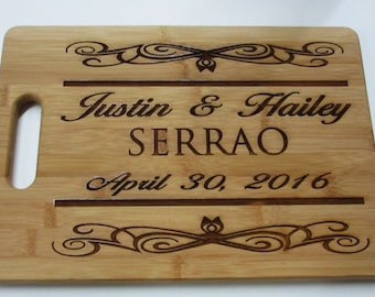 Fifth Anniversary Gift Traditional // Sixth Anniversary Gift Modern // Bamboo Cutting Board with Personalization